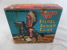Wind up tin toy - Indian Chief on Horse - Works