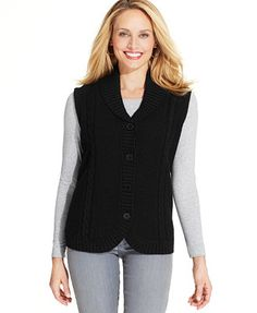 7a4c2ecd055 Alfred Dunner Wool Cable-Knit Vest Alfred Dunner