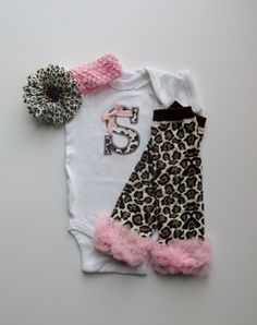 Baby Girl Gift Set Monogram Cheetah and Pink Onesie With Leg Warmers LOOKING for one in black and pink or brown and pink no animal prints