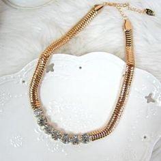 Rhinestone Short Necklace Gold - One Size