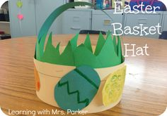For my kinder and firstgrade friends . Learning With Mrs. Parker: Create a simple Easter Basket hat using a sentence strip and construction paper. April Easter, Easter Art, Hoppy Easter, Easter Crafts, Easter Ideas, Easter 2018, Easter Bunny, Easter Activities, Craft Activities