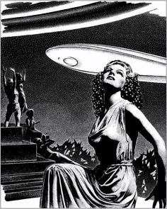 "Art by Virgil Finlay for ""The Wanderer's Return"" by Fletcher Pratt Science Fiction, Pulp Fiction, Mad Science, Illustrations, Illustration Art, Famous Poems, Modern Artists, Art For Art Sake, Sci Fi Fantasy"