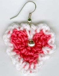 Make Valentine #crochet earrings to sport during the romantic holiday. These are also cute for little girls to wear any time of year.