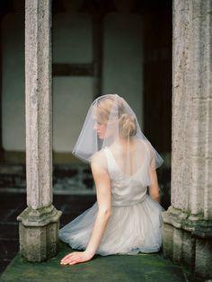 Fly away wedding veil, circle wedding veil, short wedding veil, raw edge veil, blusher veil, drop veil, Style V25