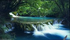 Lake and waterfall in Bach Ma National Park in Hue City, Vietnam