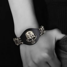 Beautiful Skull Leather Biker Bracelet If you are a biker, this necklace is perfect for you. It has a very nice Skull on it This bracelet is available in 4 colors (Black, Red, Brown or Orange)