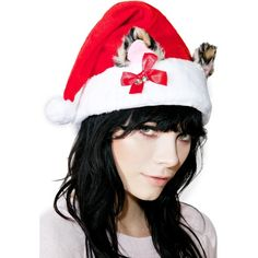 Cat Ears Santa Hat (15 CAD) ❤ liked on Polyvore featuring accessories, hats, fake fur hats, leopard hats, leg avenue, cocktail hat and faux fur hat