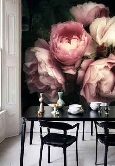 Paper Floral, Wallpaper Wall Mural Removable, Wallpaper Dark Floral Mural Wallpaper Peel & Stick, Self Adhesive Wallpaper Pink Rose Dark Floral Mural Vintage Tapete self adhesive wallpaper Wallpaper Wall, Self Adhesive Wallpaper, Peel And Stick Wallpaper, Wallpaper Ideas, Dark Wallpaper, Beautiful Wallpaper, Trendy Wallpaper, Mural Floral, Flower Mural