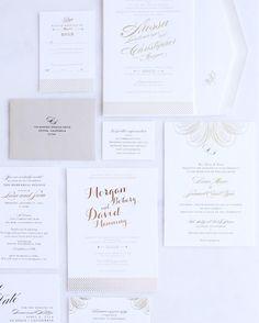 White, gold, and rose gold custom wedding invitations by Envelopments Dealer/Designer Posh Paperie