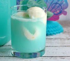 Mix blue raspberry lemonade punch with ice cream.