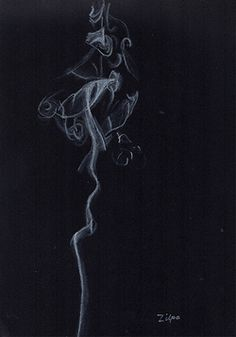 Here is a challenge for those willing to take it on. Drawing smoke. I used a white charcoal pencil on black paper. You could do it in charcoal by blackening your paper and using a needed eraser to get the wispy smoke effect. Have fun with this one. I did.