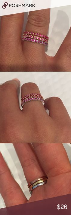 Delicate dainty Stackable rings Lovely set of 3 Rings - fits size 5/6 or Midi Jewelry Rings