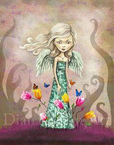 Angel Flower Girl  Whimsical Fantasy Art Print  by DianaLevinArt, $15.00