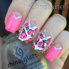 Gorgeous!!  Those roses are really pretty!   Nails by @christabellnails - @thenailartstory- #webstagram