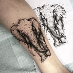 Um estilo de tatuagem chamado sketch - List of the most beautiful tattoo models Leg Tattoos, Arm Tattoo, Body Art Tattoos, Tattoos For Guys, Sleeve Tattoos, Cool Tattoos, Tattoo Life, Elefant Tattoo, Sketchy Tattoo