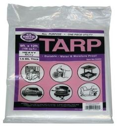 All-Purpose Utility Tarp, 9-by-12 Foot (9x12) by Medium Duty Tarp. $5.95. Economical multi-purpose covering. 1.5 mil thick. Medium duty. For indoor/outdoor use. Measures: 9 Feet x 12 Feet