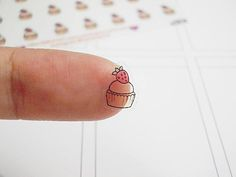 Clear Strawberry Cupcake Planner Stickers, Bakery Stickers, Food Stickers, Dessert Stickers, Erin Condren Planner Stickers (st287#) by CENTERPATCH on Etsy