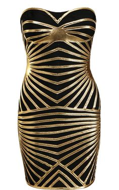 Drizzled Gold Dress: Features a beautiful sweetheart neckline with padded bust for full support, glistening gold strands placed symmetrically down the front for a spellbinding effect, and a solid black backside to finish.