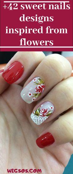 sweet nails designs inspired from flowers Acrylic Nail Designs, Nail Art Designs, Acrylic Nails, Purple Glitter Nails, Red Nail Art, Kawaii Nails, Girls Nails, Hair And Nails, Nail Colors