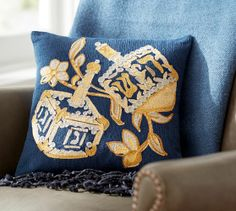 Hanukkah Dreidel Crewel Embroidered Pillow   Pottery Barn