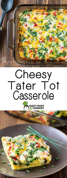 Easy, cheesy tater tot casserole recipe with eggs, spinach and red peppers is perfect for Sunday Brunch - Casseroles Cheesy Tater Tot Casserole, Hashbrown Casserole, Cheesy Tater Tots, Spinach Casserole, Bean Casserole, Vegetarian Breakfast Casserole, Tater Tot Breakfast Casserole, Breakfast Recipes, Tater Tot Recipes