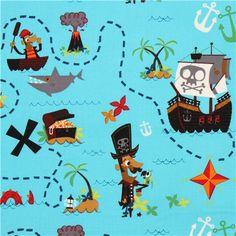 blue pirate treasure map fabric USA Pirate Journal 1