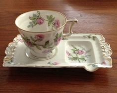 Haviland Limoges Sylvia Teacup with saucer/teabag holder 1900-1940 France