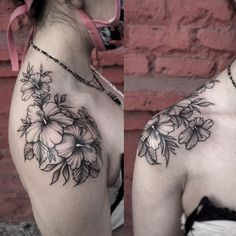 Bicep Tattoo Women, Hip Tattoos Women, Shoulder Tattoos For Women, Subtle Tattoos, Dope Tattoos, Body Art Tattoos, Shoulder Cap Tattoo, Simple Shoulder Tattoo, Flower Vine Tattoos
