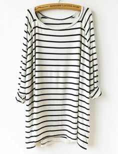 White Black Striped Loose T-Shirt pictures