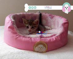 Camita con respaldo: - Color: estampado de corazones con rosa pastel. - Talla: -1 de 25 cm de diámetro. - Modelo: Unisex  Mascota: Mahu Diseño: América García