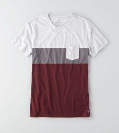 Light Heather Grey AEO Colorblock Pocket T-Shirt