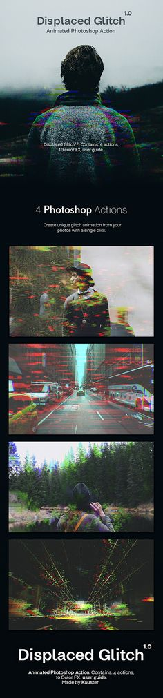 Displaced Glitch  Animated Photoshop Action — Layered PSD #vhs • Download ➝ https://graphicriver.net/item/displaced-glitch-animated-photoshop-action/20348032?ref=pxcr