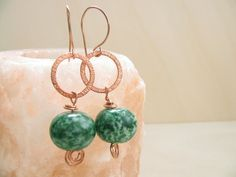 Green and copper earrings Handmade copper earwires