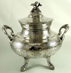 French first standard (.950 fine) silver sugar bowl with applied floral finial by Jean Francois Veyrat - Paris, c1850 (firstsettler)
