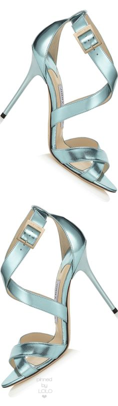 Jimmy Choo Lottie Cool Mint Etched Mirror Leather Sandals | LOLO❤