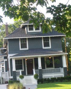 shingle style four square house duplex Exterior Color Schemes, Exterior Paint Colors For House, Paint Colors For Home, Craftsman Exterior, Craftsman Bungalows, Craftsman Homes, Cottage Exterior, Square House Plans, Four Square Homes
