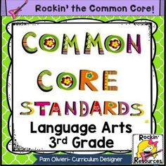 $4 Common Core Standards Posters 3rd Grade Language Arts