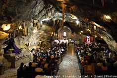Chapel at Lapa Cave ( Capela na gruta da Lapa ). Pilgrimage to Bom Jesus da Lapa, Bahia State, Brazil.