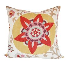 Red and Yellow Suzani Pillow Cover - Silsila Curry Floral Decorative Pillow - Accent Pillow - or Lumbar Sizes Pillow Cover Design, Decorative Pillow Covers, Throw Pillow Covers, Throw Pillows, Motif Floral, Floral Prints, Deux Faces, Green And Purple, Yellow