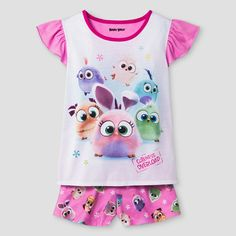 Girls' Angry Birds Pajama Set - Pink XS