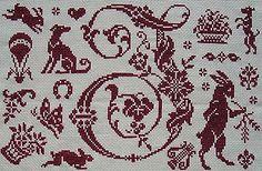 Détail du marquoir rouge en point de croix nomé Monogramme I de Clorami Designs