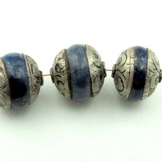 Afghan Lapis Lazuli sterling silver capped rondelle beads  - set of 3