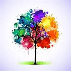 tree paintings - Love the idea. Would probably only do one color hue though