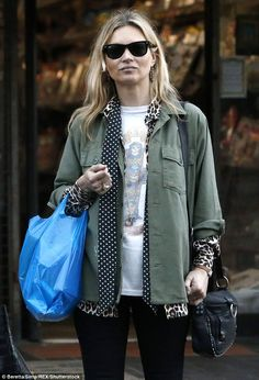 Hangover-free: Despite partying hard the night before, Kate Moss looked remarkably fresh as she popped to the local shops on Friday morning in London
