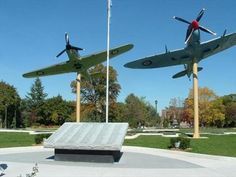 Jackson Park, Windsor, Ontario Canada -  Memorial contains a large cenotaph with all the names of those from Essex County who lost their lives & two replicas of airplanes that were used in WWII - a Spitfire & a Lancaster Bomber, FM212 that was constructed in 1945, just a little too late to be used in combat.