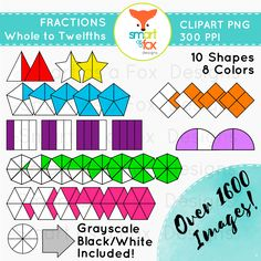 Fractions Clipart Whole to Twelfths by Smart as a Fox Designs  ♥ Personal and COMMERCIAL use! Hassle Free - No need to link back for this kit!  ♥This collection contains 1796 clipart pieces:  In this set, you will be receiving images of: 1560 vividly colored pieces, 195 grayscale pieces and 41 black and white images. High Resolution 300ppi, PNG transparent background files. Perfect for any fraction related crafts and projects!  #fraction #fractions #twelfths #mathematics #math #elementary…