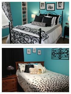 Inspiration on top. Finished product on bottom. Turquoise bedroom.