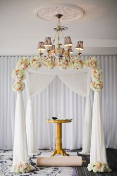 Classic glamour is written all over this Chuppah: http://www.stylemepretty.com/2015/02/17/instyle-editors-philadelphia-wedding/ | Photography: Cly By Chung - http://www.clybychung.com/