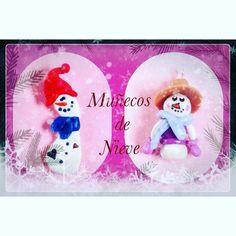Muñecos de Nieve en Porcelana Fria