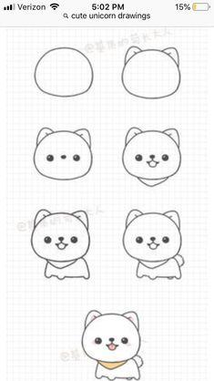 Pin by Edakurt on Zeichnungen in 2020 Cute Cartoon Drawings, Cute Easy Drawings, Cute Kawaii Drawings, Kawaii Doodles, Cute Doodles, Cute Animal Drawings, Doodle Drawings, Cute Animals To Draw, Easy Cartoon